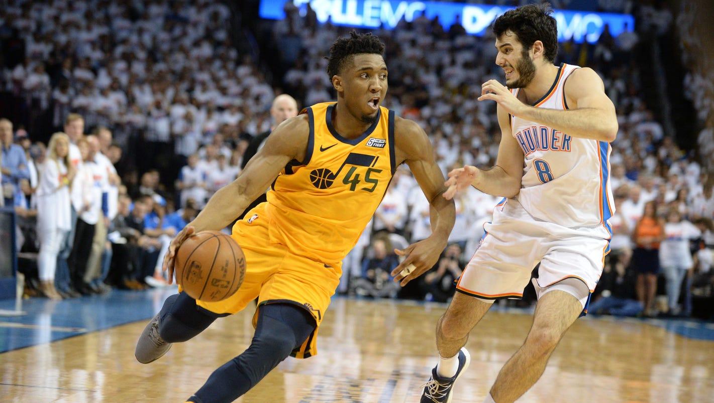Jazz rookie Donovan Mitchell takes over vs. Thunder, breaks Michael Jordan playoff record