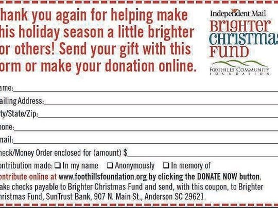 Coupon to donate the brighter Christmas fund.
