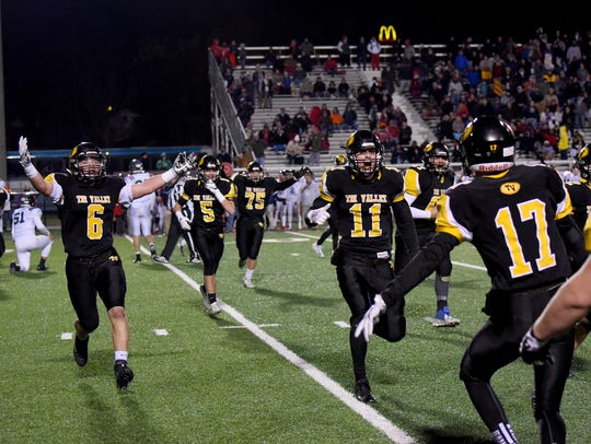Tri-Valley players celebrate last week's win over Columbus Hartley. This is the Scotties' first appearance in the state final four.