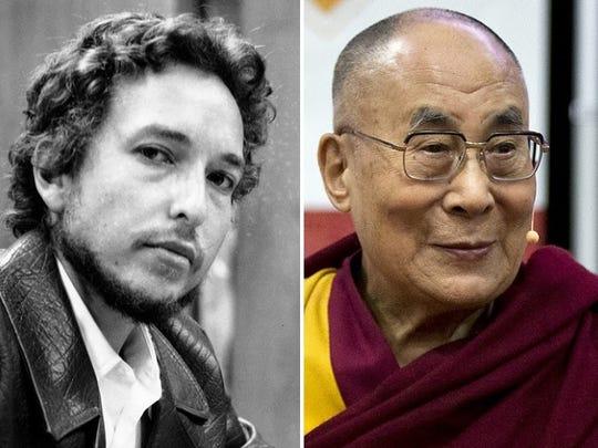 Bob Dylan (1969), the Dalai Lama.