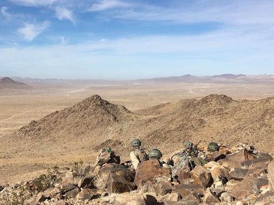Soldiers from Cobra Company, 3rd Battalion, 41st Infantry Regiment, support the opposing force mission during a National Training Center rotation at Fort Irwin, Calif., in November.