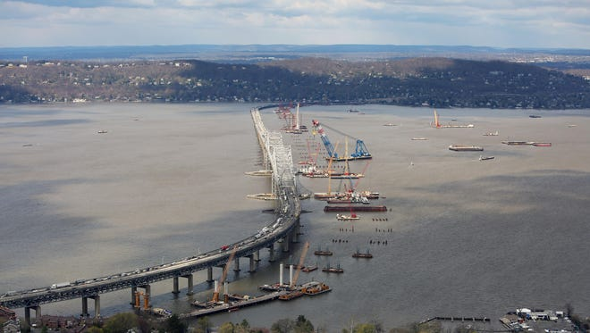 An aerial view of Tappan Zee Bridge construction from this past April.