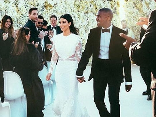 Kim and Kanye at the wedding (c)  Instagram