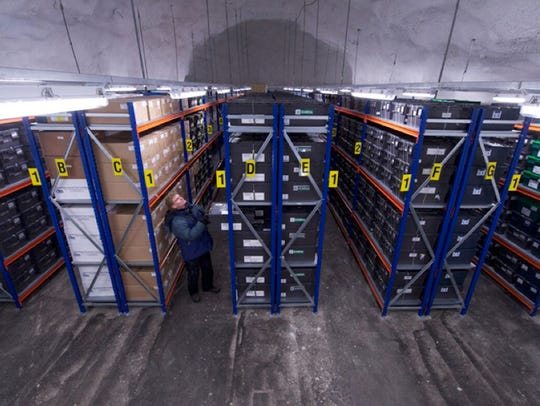 Cary Fowler, inside the Global Seed Vault, which contains