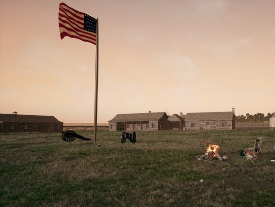 A virtual-reality recreation of the old U.S. Army fort