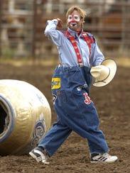 Rodeo clown Flint Rasmussen entertains at the Montana