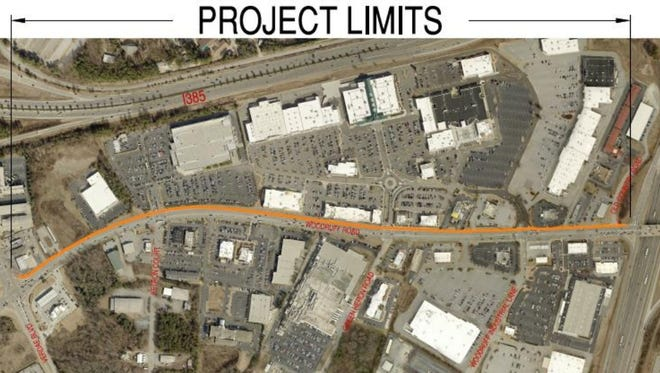 The city will install sidewalks on Woodruff Road from the I-85 ramps to Roper Mountain Road and Verdae Boulevard.