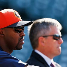 HOUSTON, TX - APRIL 22:  Houston Astros manager Bo Porter #16 (L) and general manager Jeff Luhnow wait near the batting cage prior to the start of the game against the Seattle Mariners at Minute Maid Park on April 22, 2013 in Houston, Texas.  (Photo by Scott Halleran/Getty Images)
