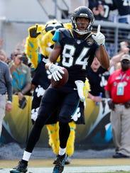 Jacksonville Jaguars wide receiver Keelan Cole celebrates after he scored a touchdown against the Houston Texans.