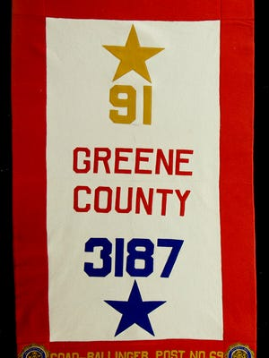 Greene County WWI Service Banner. The blue star represents the total number of Greene County men who served in the war; while the gold star represents the number of men who were killed in service.  In the 1920's Missouri counties created banners to honor the state's veterans of the war.