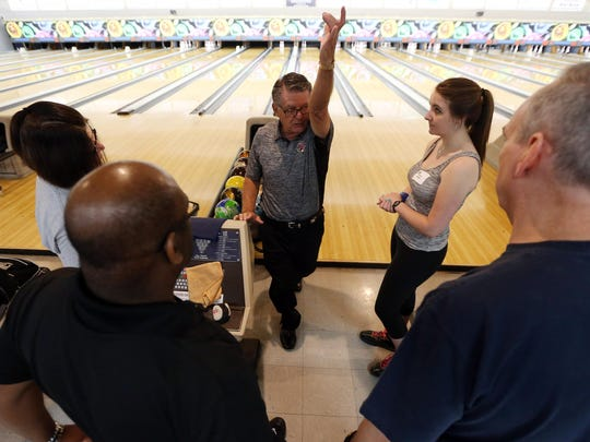 Former Team USA head coach Fred Borden coaches bowlers during the 16th annual Pro Image Bowling Boot Camp at Rockaway Lanes on July 15, 2016.
