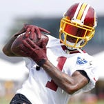 Redskins wide receiver DeSean Jackson catches the ball during drills as part of afternoon practice on day one of training camp at the Bon Secours Training Center in Richmond, Va., last month.