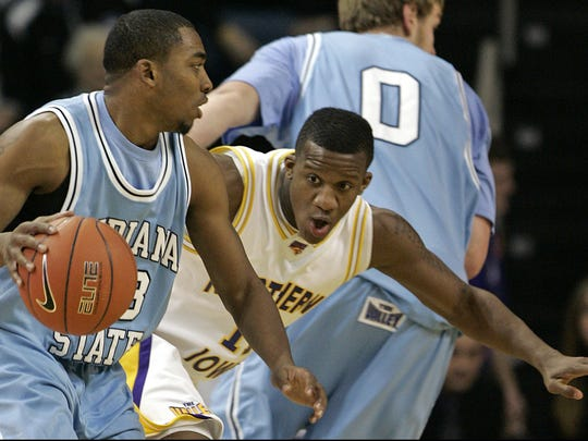 Kwadzo Ahelegbe, right, was a key component of successful Northern Iowa teams.