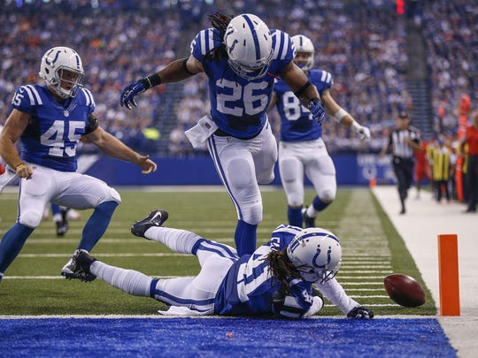 Colts defensive back Matthias Farley (41) couldn't keep the ball from crossing the goal line against the Kansas City Chiefs in October.