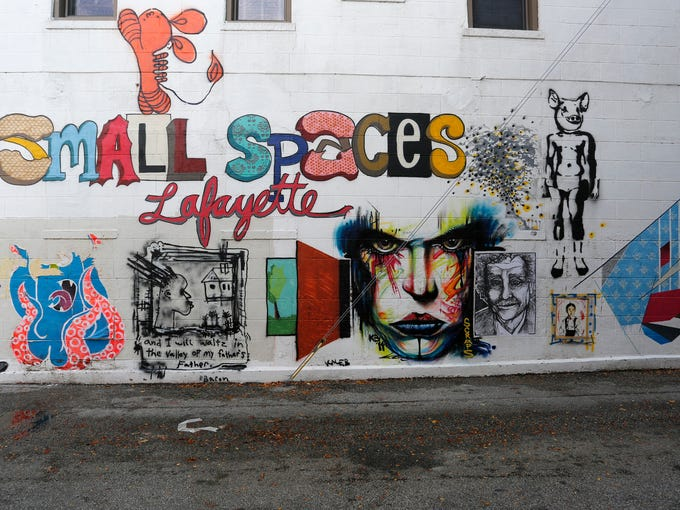 The work of several artists taking part in the small