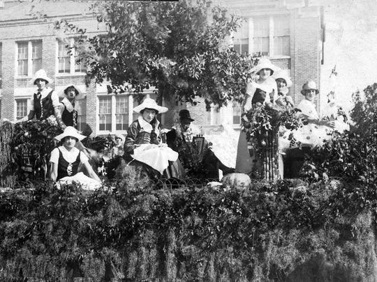 Evangeline Float in the 1924 Cotton Carnival festival in Opelousas. This was the event that got the Evangeline Girls idea started.