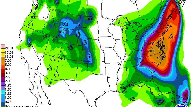 The rainfall forecast for the next five days shows heavy rain for much of the East Coast.