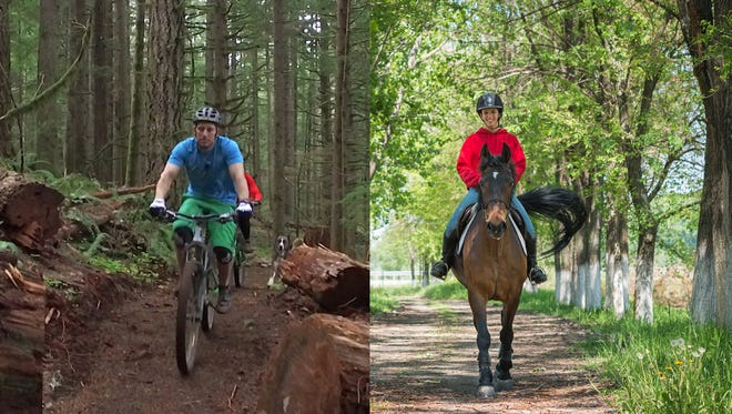 Left: a mountain biker on the Catamount Trail at Silver Falls State Park. Right: Rider on horseback.