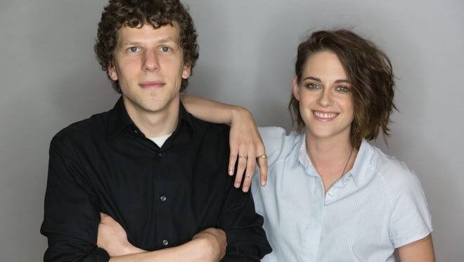 Jesse Eisenberg and Kristen Stewart, photographed at the Four Seasons Hotel in New York City on Aug. 9, 2015. The two actors star in stoner action comedy 'American Ultra.'