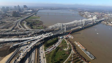 The new Abraham LIncoln Bridge, right, runs next to the Lincoln Memorial at Waterfront Park, a stop on the Kentucky Lincoln Heritage Trail.  Shown Dec. 5, 2015