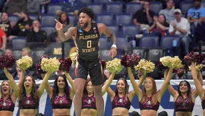 Florida State Seminoles forward Phil Cofer (0) reacts during the second half against the Missouri Tigers in the first round of the 2018 NCAA Tournament at Bridgestone Arena. Mandatory Credit: Jim Brown-USA TODAY Sports
