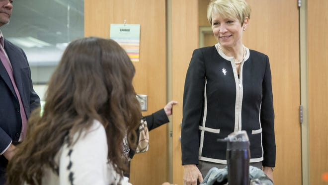 Sue Ellspermann tours the Muncie campus of Ivy Tech Community College last year/.