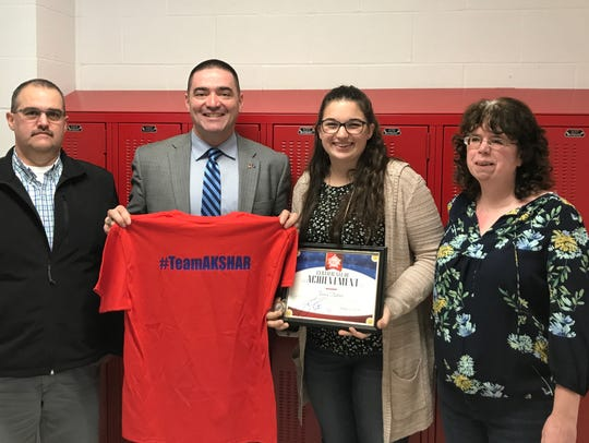 Afton High School student Tracy Hatton was recognized