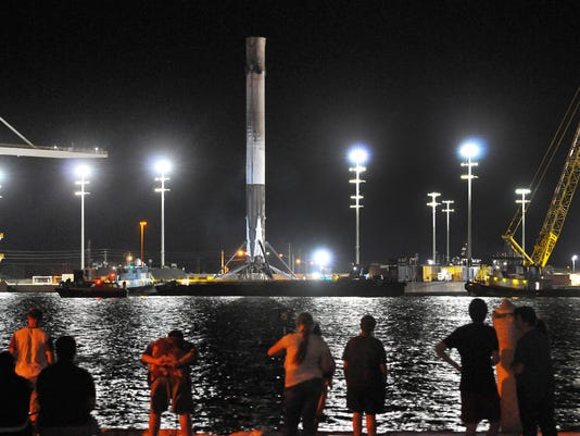 SPACEX STAGE RETURNS TO PORT CANAVERAL