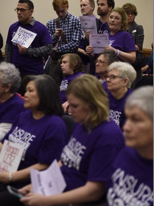Insure Tennessee supporters fill a committee room at Legislative Plaza on Wednesday.