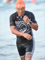 "Kilhak ""Killy"" Kunimoto participates in the Bike King Tri 1 Triathlon in Subic Bay, Philippines, in late February."
