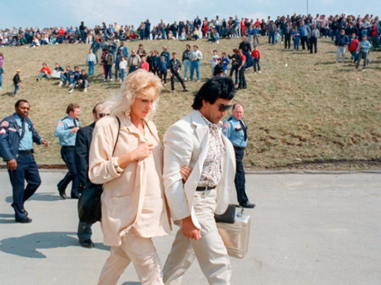 "Ricky ""The Dragon"" Steamboat and his wife, Bonnie, arrive at the Silverdome for the big day."