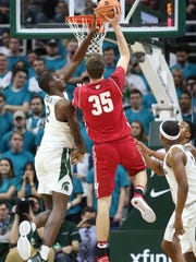 Michigan State forward Jaren Jackson blocks a shot