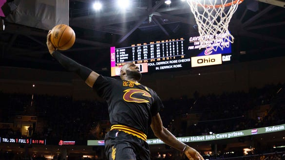 Watch LeBron dunk all over the Knicks