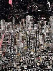 """Daryl Thetford, """"New City at Night,"""" 2018, photographic collage, 72.5x60""""."""