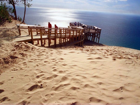 The Lake Michigan overlook along the Pierce Stocking Scenic Drive at the Sleeping Bear Dunes National Lakeshore offers a stunning view from 450 feet above the lake.