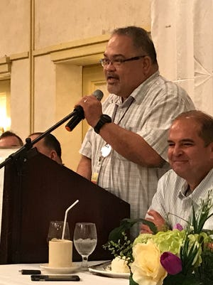 Guam Memorial Hospital Administrator Peter John Camacho addresses the Guam Chamber of Commerce about the need for a hospital modernization plan at the chamber's monthly membership meeting, held Wednesday, June 28.