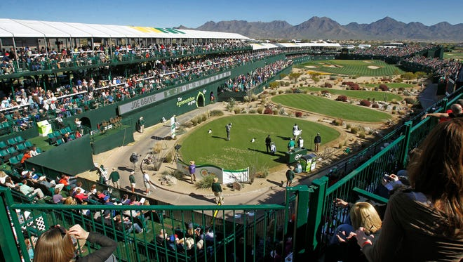 The 16th hole — shown here at the 2014 Waste Management Phoenix Open, has been remodeled: Seventeen skyboxes were added, and a hospitality area was added for loge-area guests.