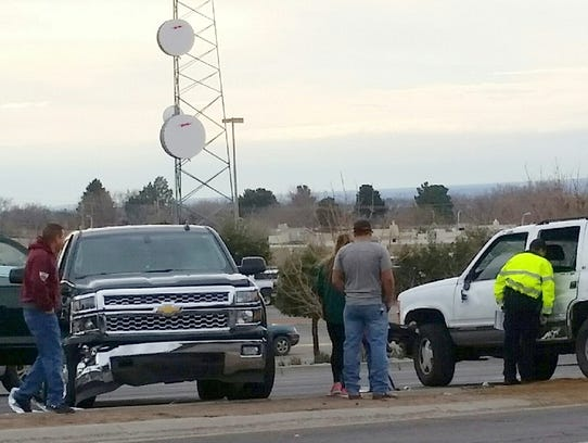 A Chevrolet SUV involved in a two-vehicle crash is