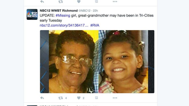 Barbara Briely, 71, and La'Myra, 5, were headed from New Jersey to North Carolina to visit family. The two were last seen in Barbara's car at an Exxon gas station in Ruther Glen, Virginia on Christmas Eve.