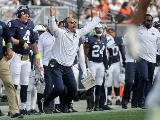 Penn State coach James Franklin gets frustrated with