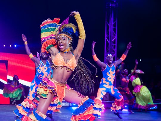 Performers dance during UniverSoul Circus, happening Aug. 22-Sept. 3 at MidPointe Crossing.