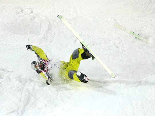 Dmitriy Barmashov of Kazakhstan crashes out in the Men's Moguls Qualification on day three of the Sochi 2014 Winter Olympics at Rosa Khutor Extreme Park on February 10, 2014 in Sochi, Russia.