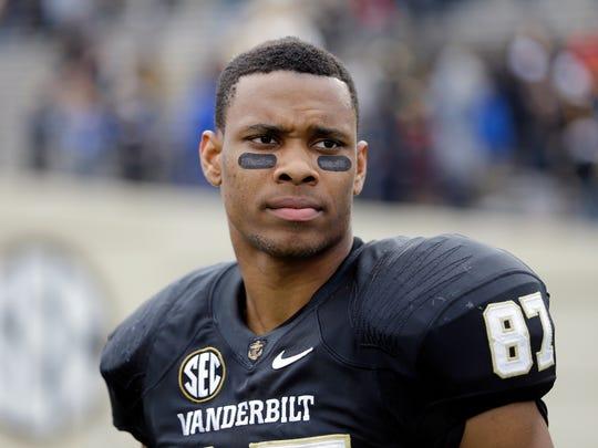 Vanderbilt wide receiver Jordan Matthews watches the action Nov. 16, 2013, in Nashville, Tenn.