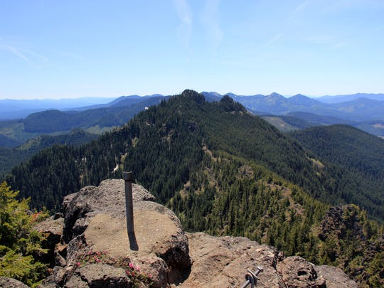 The summit of Middle Pyramid in the Old Cascades in Willamette National Forest southeast of Detroit. The site of an old fire lookout.