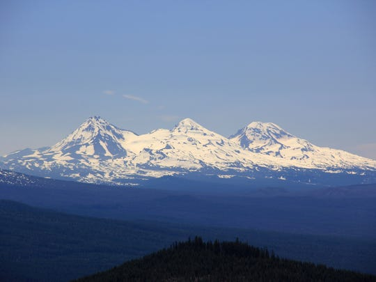 View of Three Sisters from Pyramids Trail in the Old Cascades in Willamette National Forest southeast of Detroit.