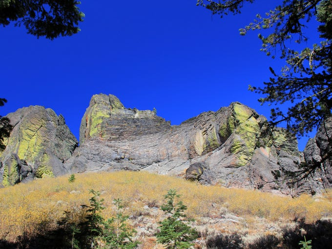 """Porphyritic lava flows created the strangely-shaped rock formations in the Gearhart Mountain Wilderness, including this one in """"The Dome"""" area of the trail that bisects the wilderness."""