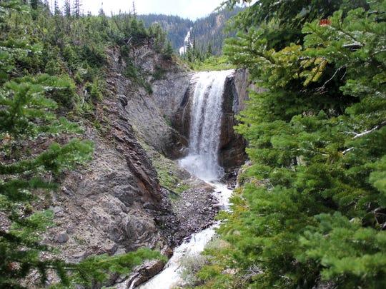 Lower Adam Creek Waterfall seen from the Ice Lake Trail in the Eagle Cap Wilderness of northeastern Oregon. Photo taken July 28, 2014.