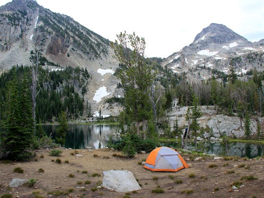 A campsite above the shoreline of Ice Lake in the Wallowa Mountains' Eagle Cap Wilderness of northeastern Oregon.