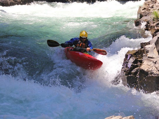 """Pete Biskind runs Steelhead Falls on the White Salmon River's """"lower lower section."""" Steelhead Falls is the toughest rapid on the run."""