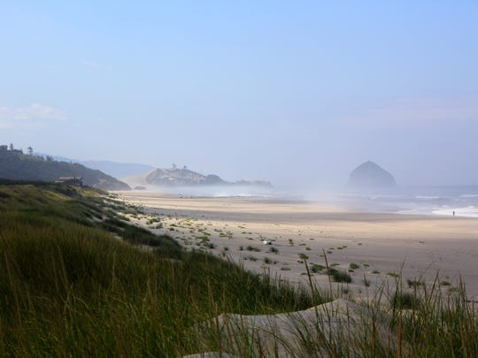 The Beltz Property, a 357-acre parcel of wetlands, dunes and beach north of Pacific City, will become Oregon's next state park. Seen here is its mile of Pacific beach with views of Cape Lookout (north) and Haystack Rock (south).